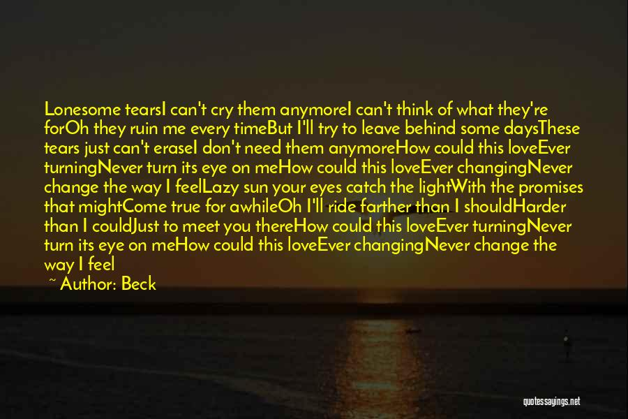 I Can't Cry Anymore Quotes By Beck