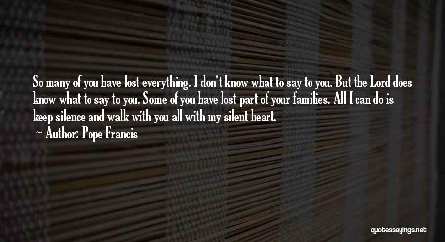 I Have Lost You Quotes By Pope Francis