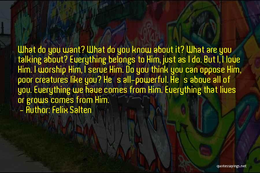 I Just Love Everything About You Quotes By Felix Salten