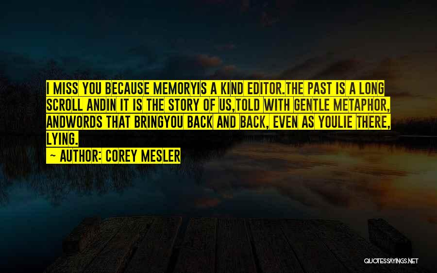 I Miss You Because Quotes By Corey Mesler