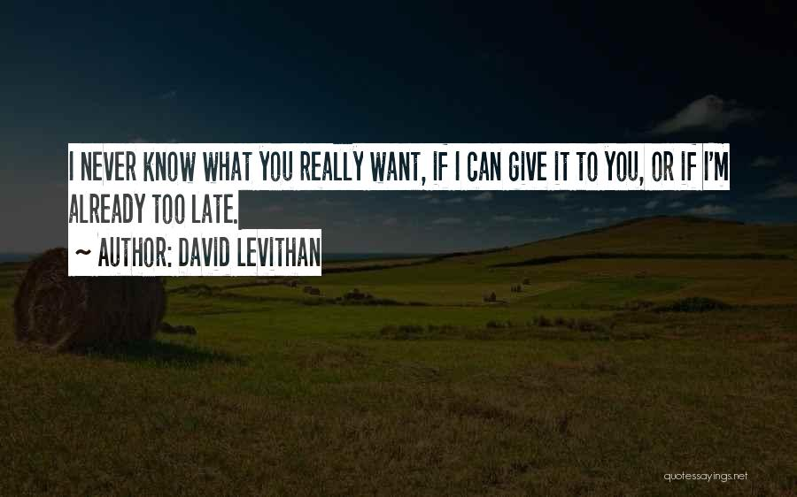 I Never Know What I Want Quotes By David Levithan