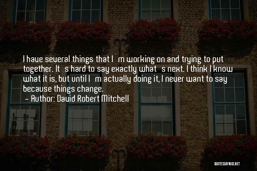 I Never Know What I Want Quotes By David Robert Mitchell