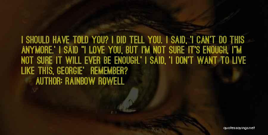 I Should Have Told You Quotes By Rainbow Rowell