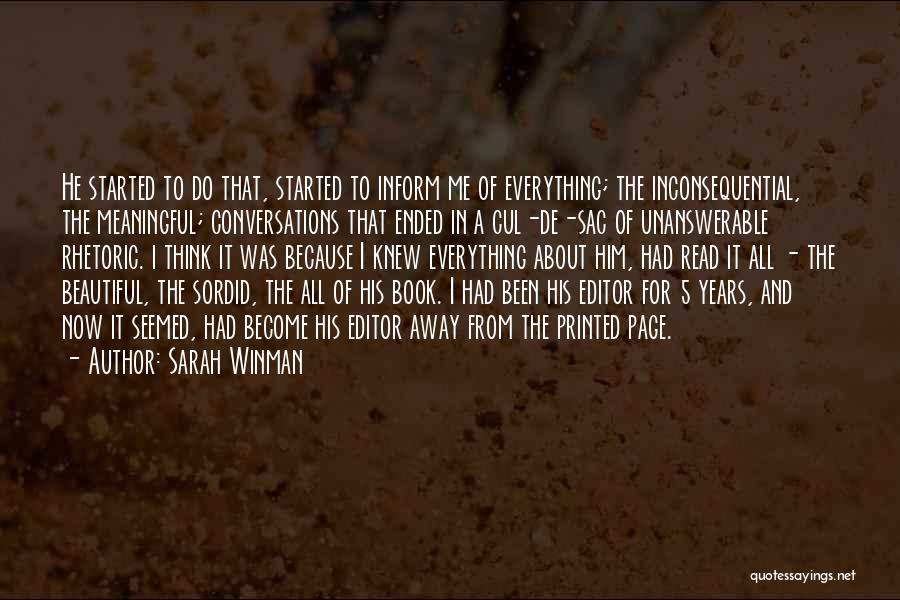 Inconsequential Quotes By Sarah Winman