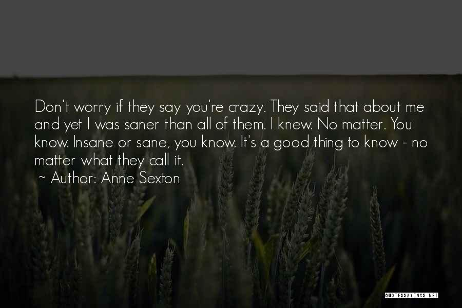 Insane Or Sane Quotes By Anne Sexton