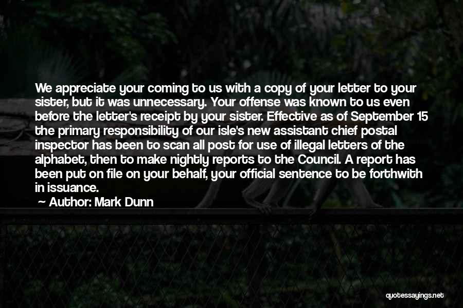 Inspector Quotes By Mark Dunn