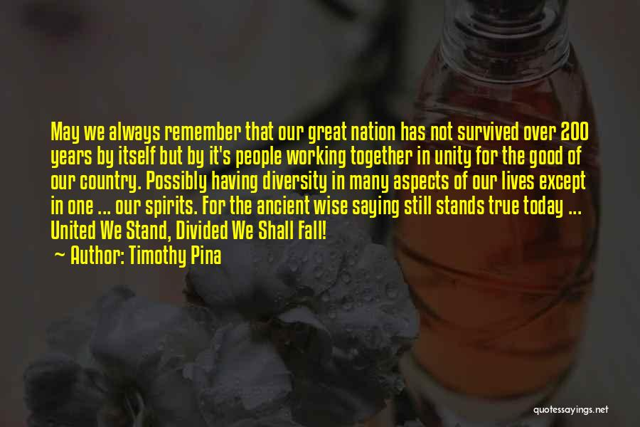 Inspirational Unity Quotes By Timothy Pina