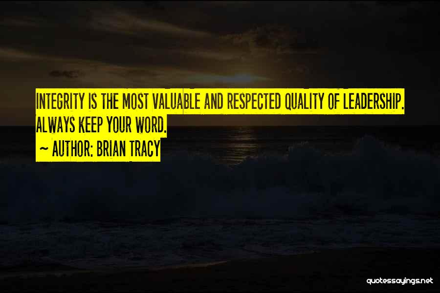 Integrity And Leadership Quotes By Brian Tracy