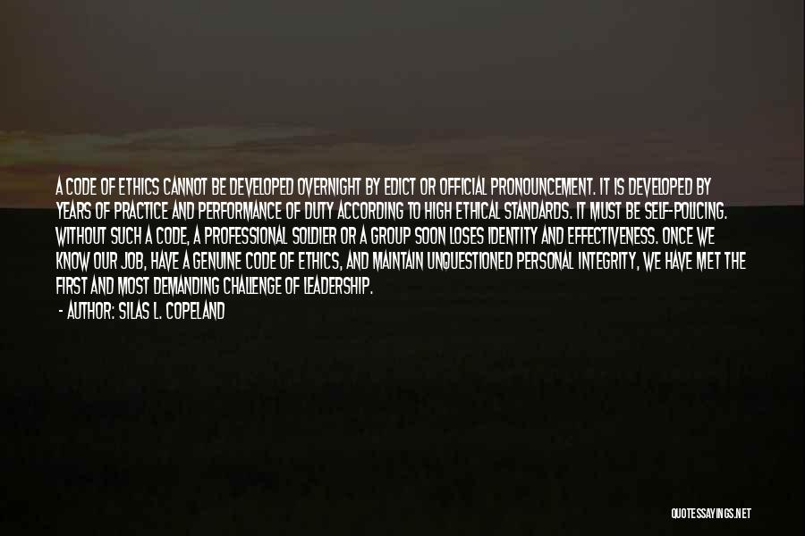 Integrity And Leadership Quotes By Silas L. Copeland