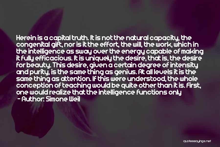 Intelligence Over Beauty Quotes By Simone Weil