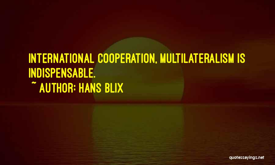 International Cooperation Quotes By Hans Blix