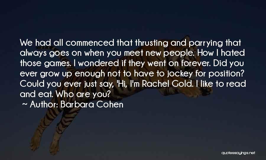 Jockey Quotes By Barbara Cohen