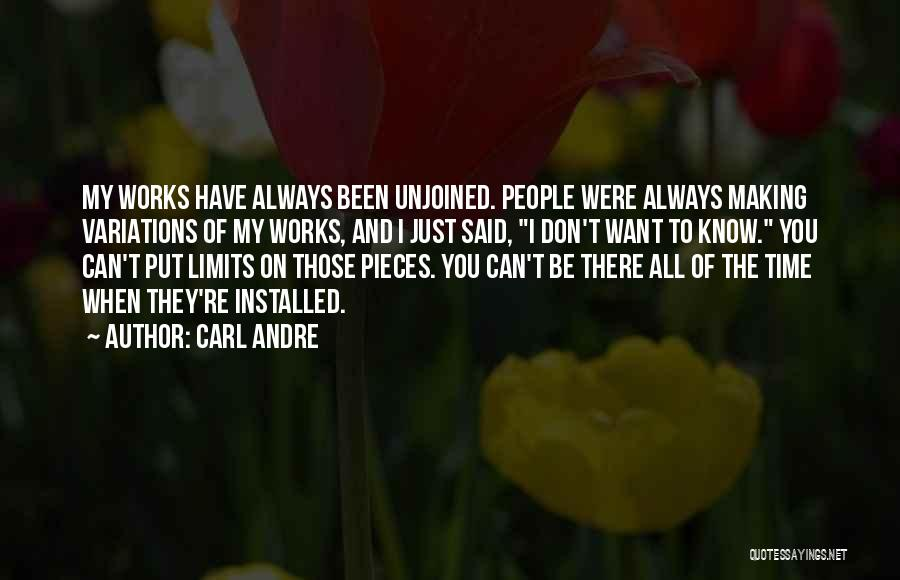 Know My Limits Quotes By Carl Andre