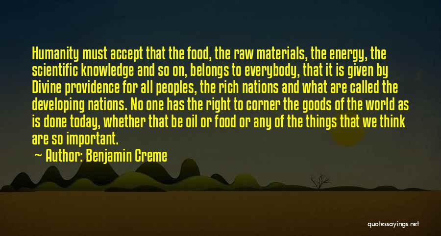 Knowledge Is Food Quotes By Benjamin Creme