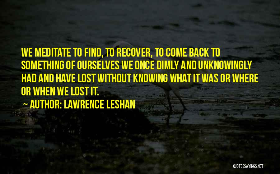 Lawrence LeShan Quotes 1935482
