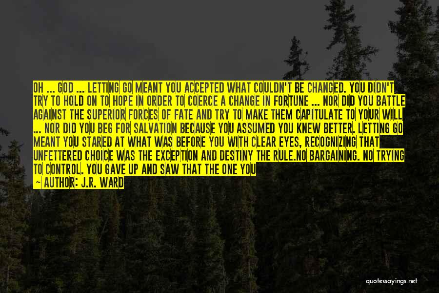 Letting God Be In Control Quotes By J.R. Ward