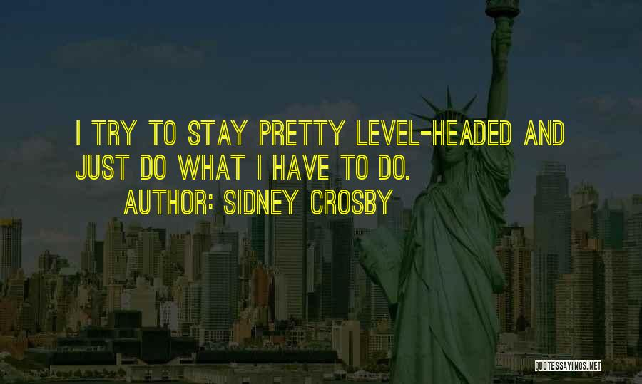 Level Headed Quotes By Sidney Crosby
