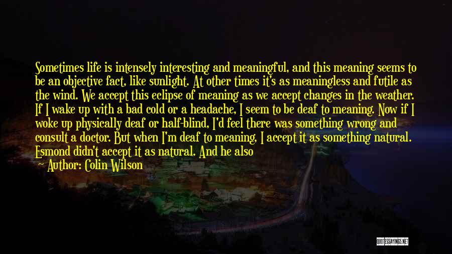 Life And It's Meaning Quotes By Colin Wilson