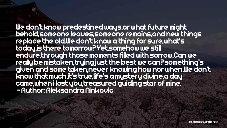 Life And Not Knowing The Future Quotes By Aleksandra Ninkovic