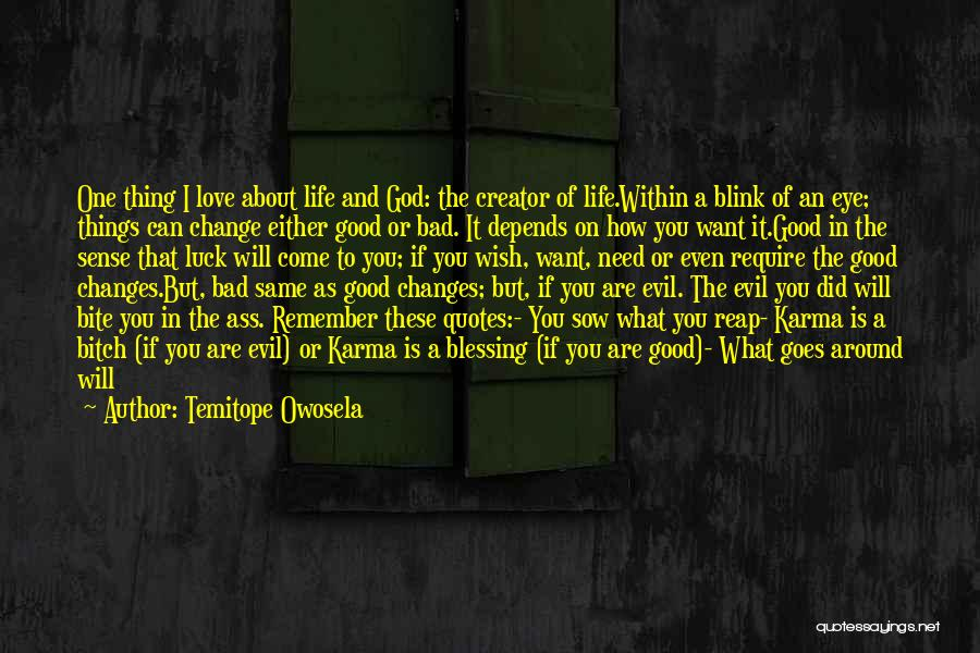 Life Changes Blink Eye Quotes By Temitope Owosela