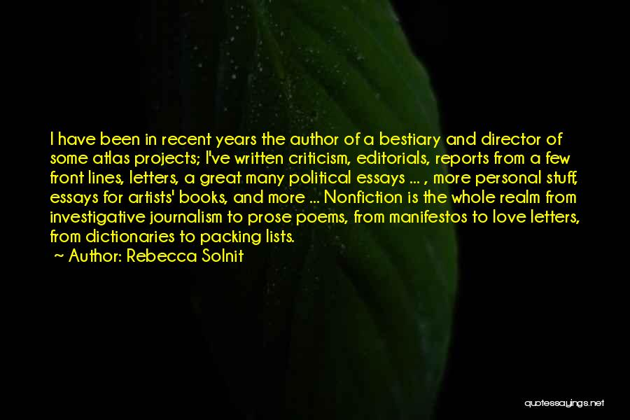 Lists Of Love Quotes By Rebecca Solnit