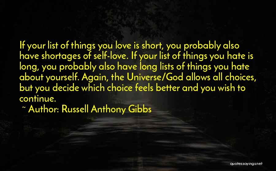 Lists Of Love Quotes By Russell Anthony Gibbs