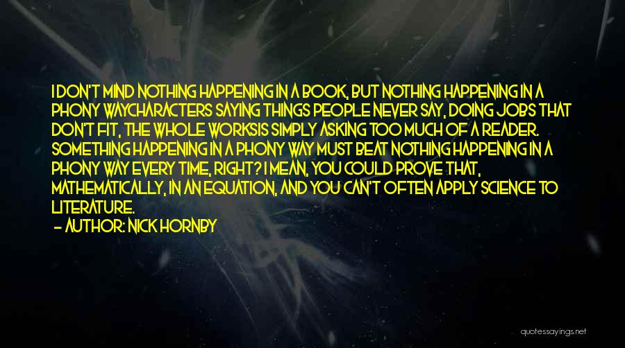 Literature And Characters Quotes By Nick Hornby