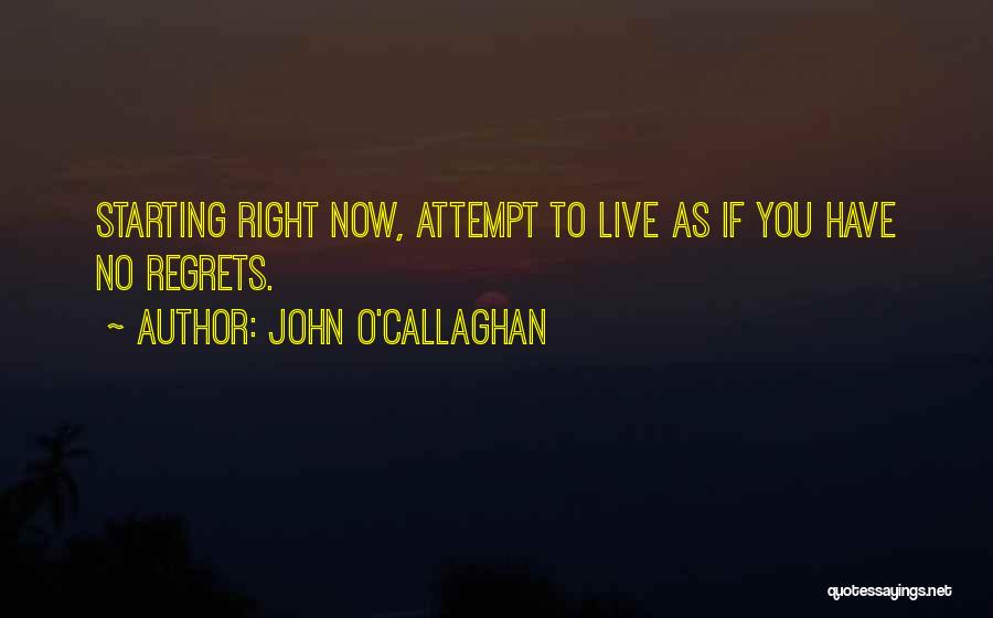 Live Life With No Regrets Quotes By John O'Callaghan
