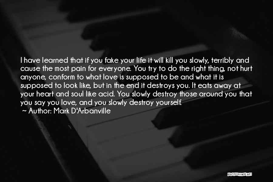 Love Being Fake Quotes By Mark D'Arbanville