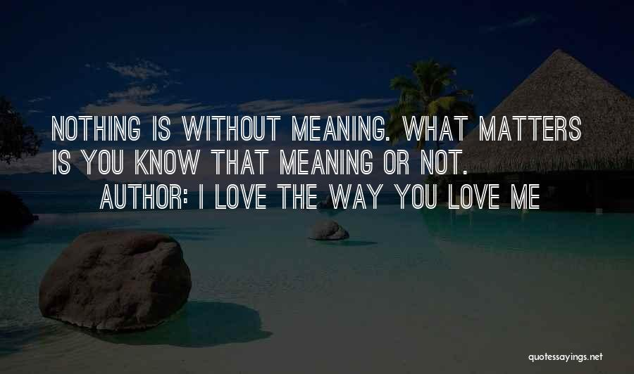 Love Is Nothing Without You Quotes By I Love The Way You Love Me