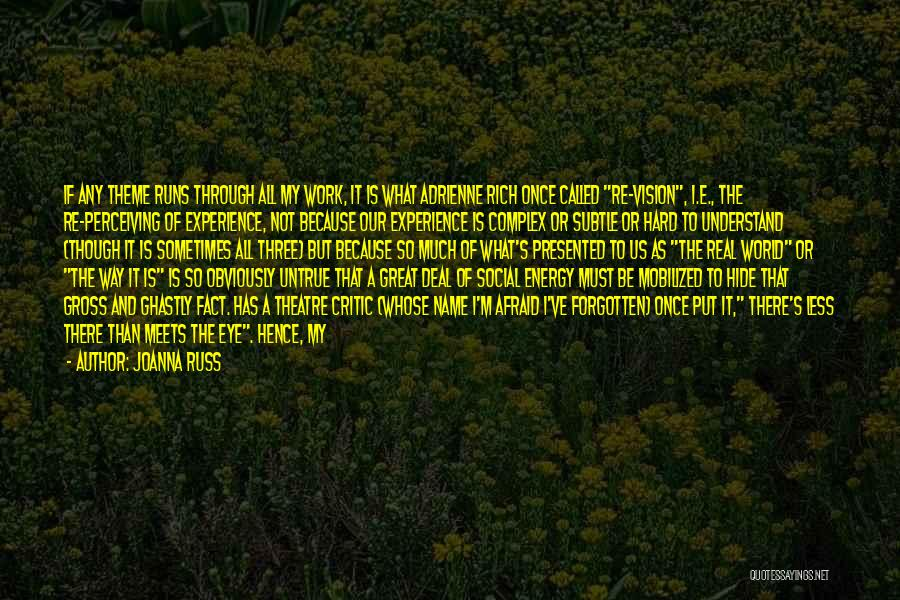 Love Through Eye Quotes By Joanna Russ