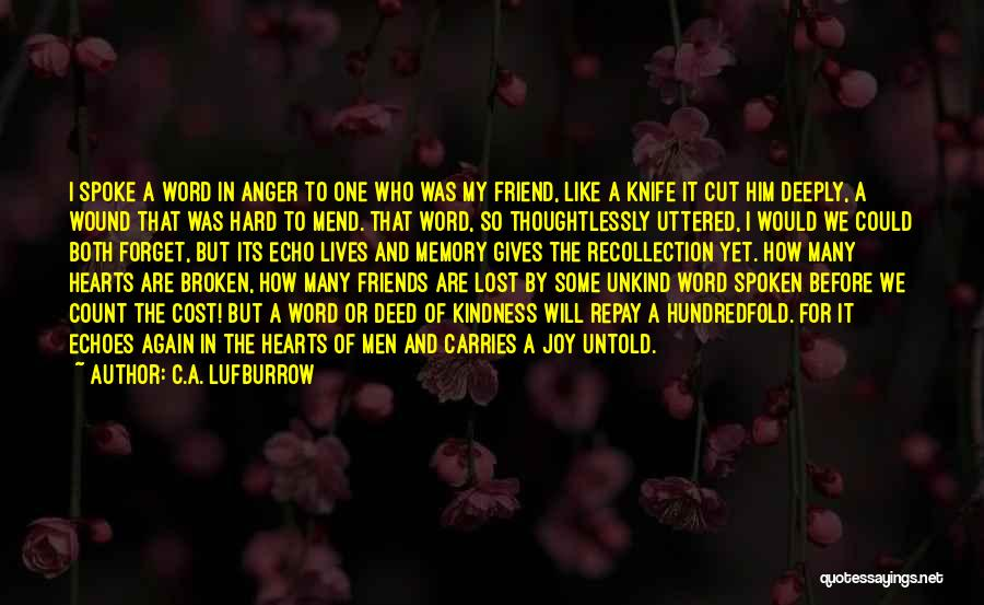 Many Friendship Quotes By C.A. Lufburrow