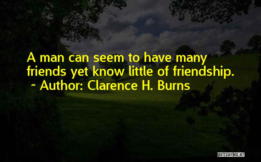 Many Friendship Quotes By Clarence H. Burns