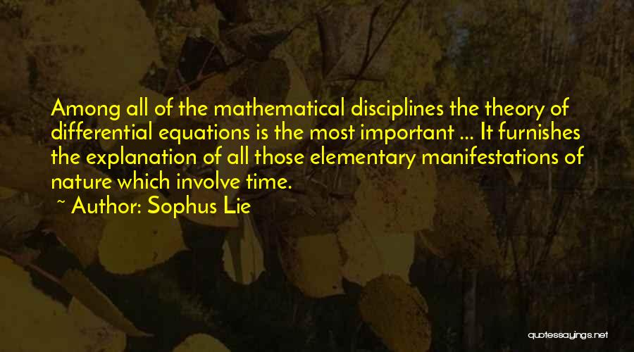 Mathematical Equations Quotes By Sophus Lie