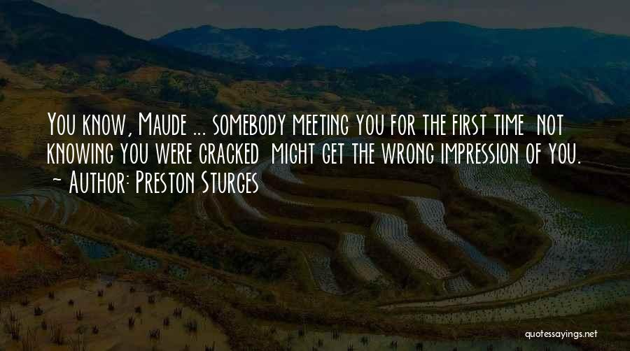 Meeting You For The First Time Quotes By Preston Sturges