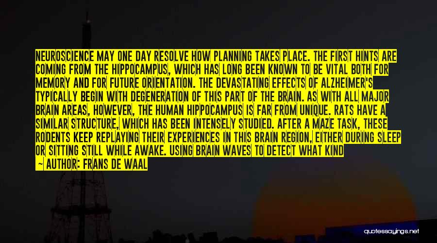 Memory And The Brain Quotes By Frans De Waal