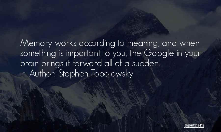 Memory And The Brain Quotes By Stephen Tobolowsky