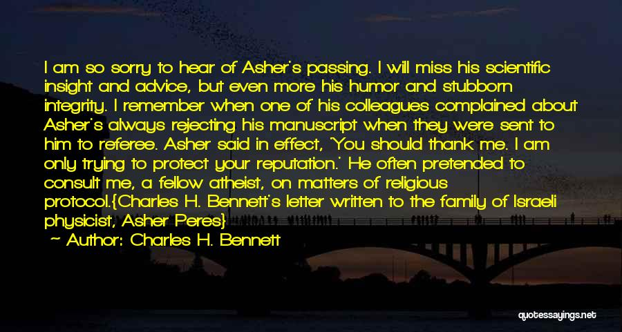 Miss Our Friendship Quotes By Charles H. Bennett