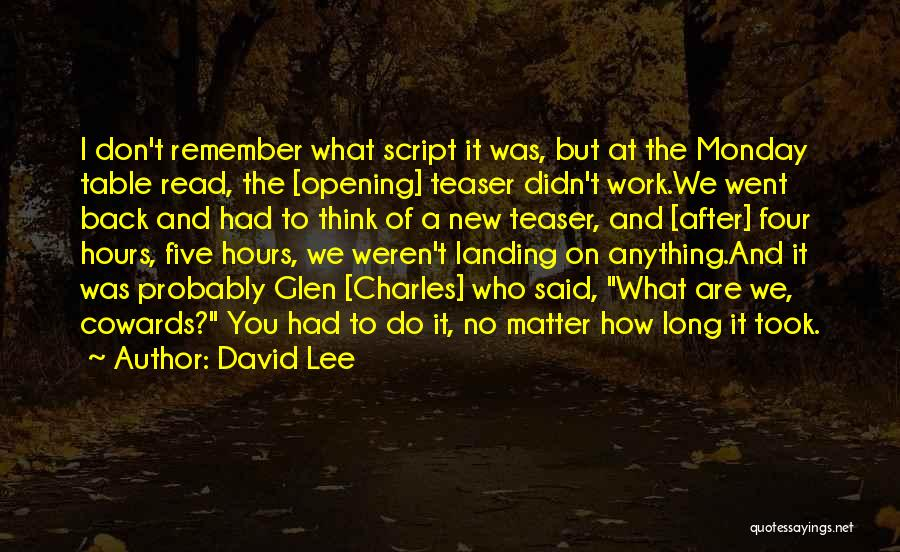 Monday Back To Work Quotes By David Lee