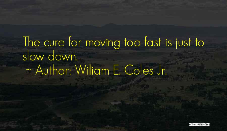 Moving On So Fast Quotes By William E. Coles Jr.