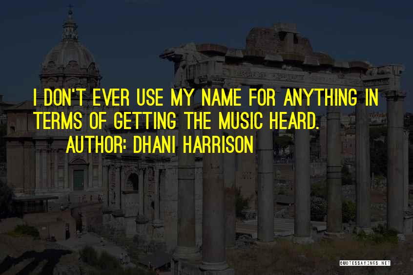 My Name Quotes By Dhani Harrison