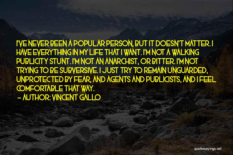 Never Be Comfortable Quotes By Vincent Gallo