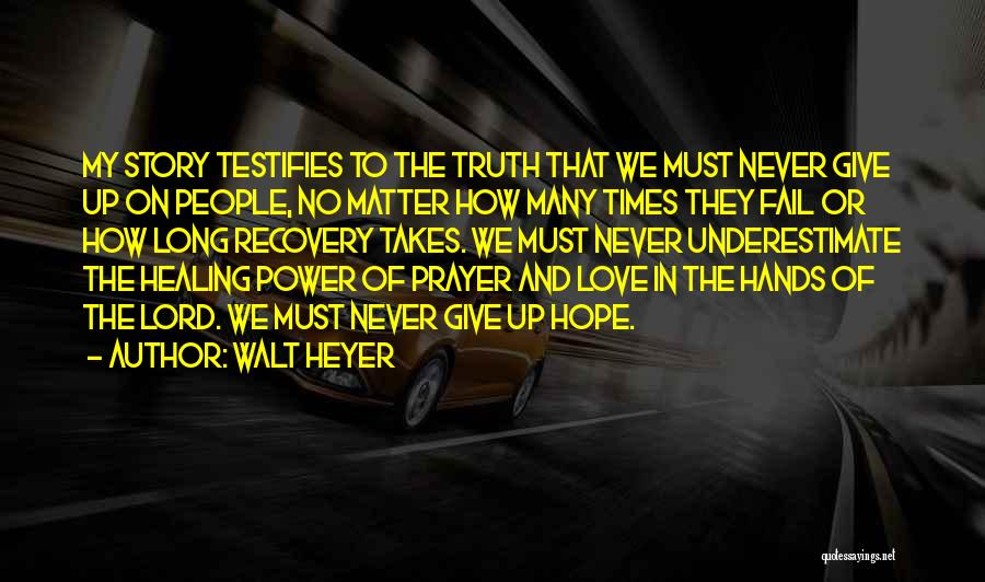 Never Give Up My Love Quotes By Walt Heyer