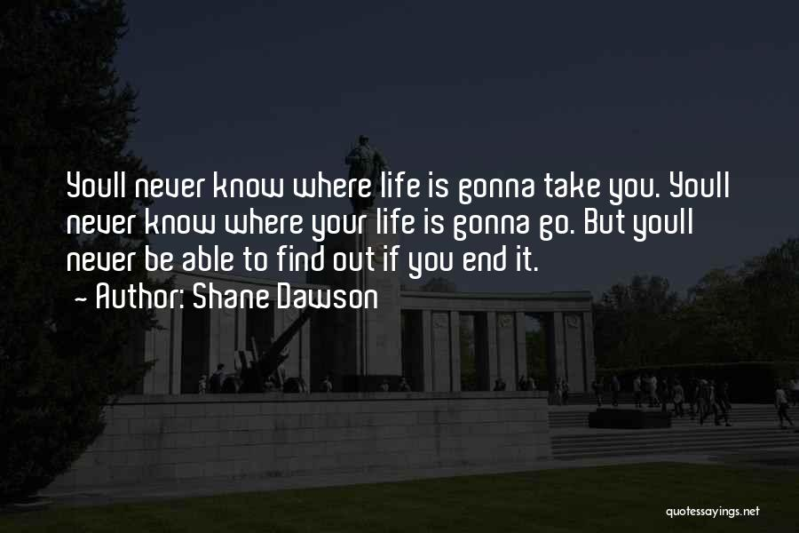 Never Know When Life Will End Quotes By Shane Dawson
