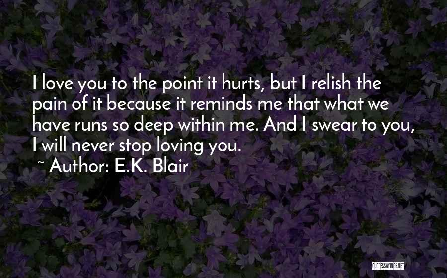 Never Stop Loving You Quotes By E.K. Blair