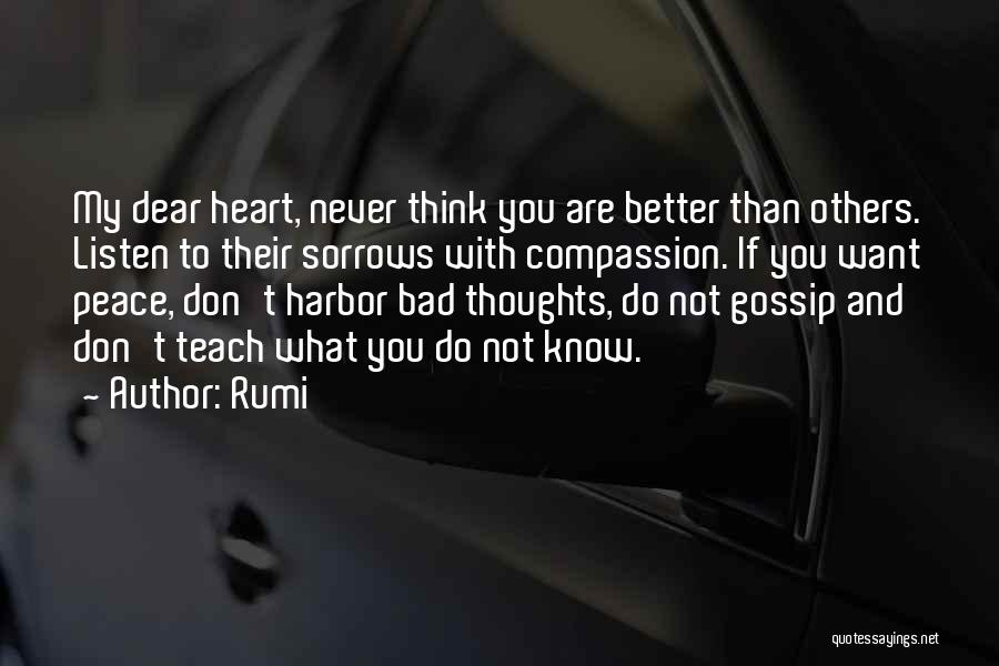 Never Think You're Better Than Others Quotes By Rumi