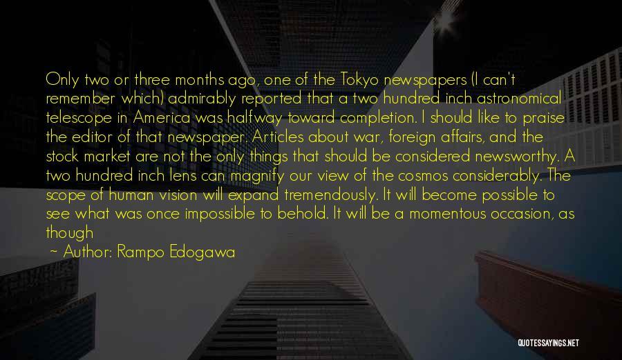 Newspaper Editor Quotes By Rampo Edogawa