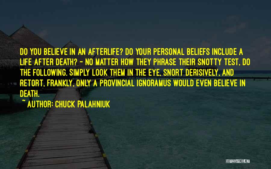 No Life After Death Quotes By Chuck Palahniuk