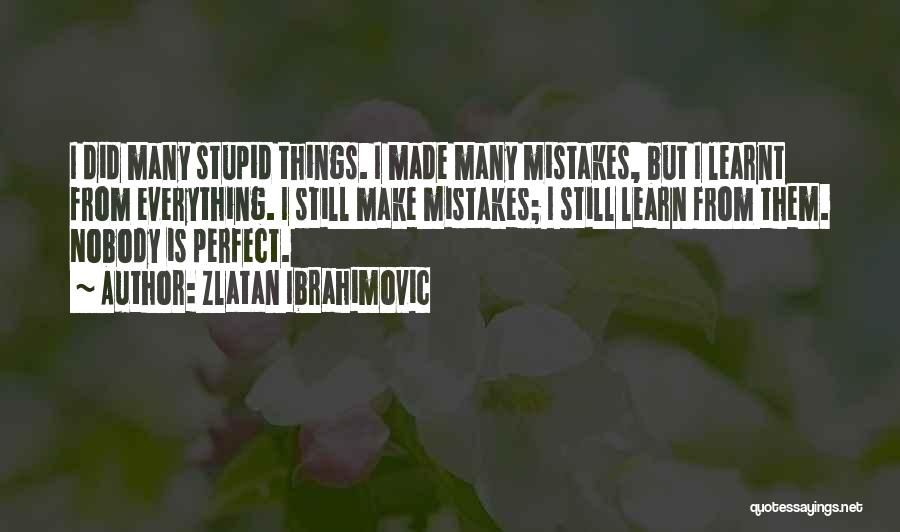 No One Perfect We All Make Mistakes Quotes By Zlatan Ibrahimovic