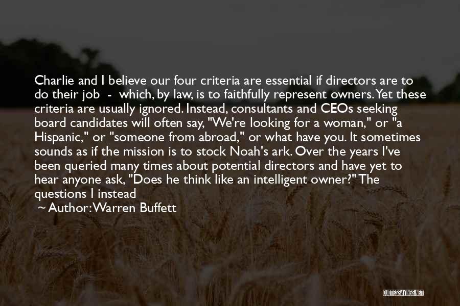 Noah's Ark Quotes By Warren Buffett